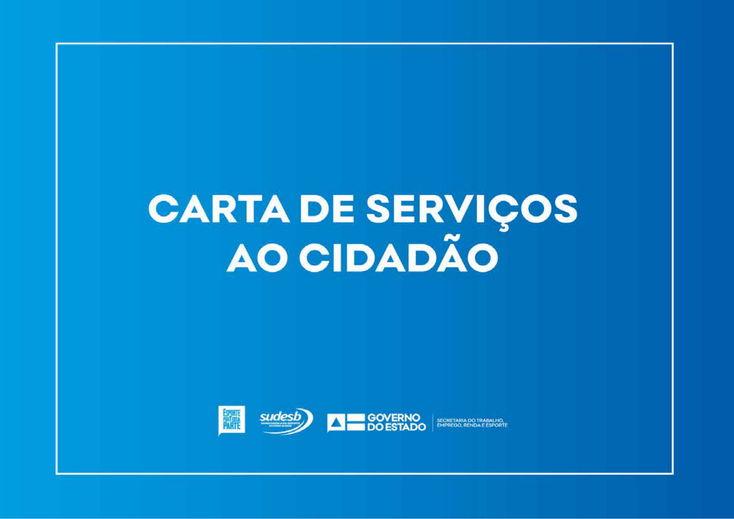 CARD COM TEXTO CARTA DE SERVIÇOS AO CIDADÃO, ESCRITO  EM LETRA BRANCA APLICADO SOBRE FUNDO AZUL