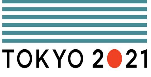 Ilustração com anúncio do adiamento da Olimpíada de Tóquio para julho de 2021, nas cores azul (listras), vermelho e preto